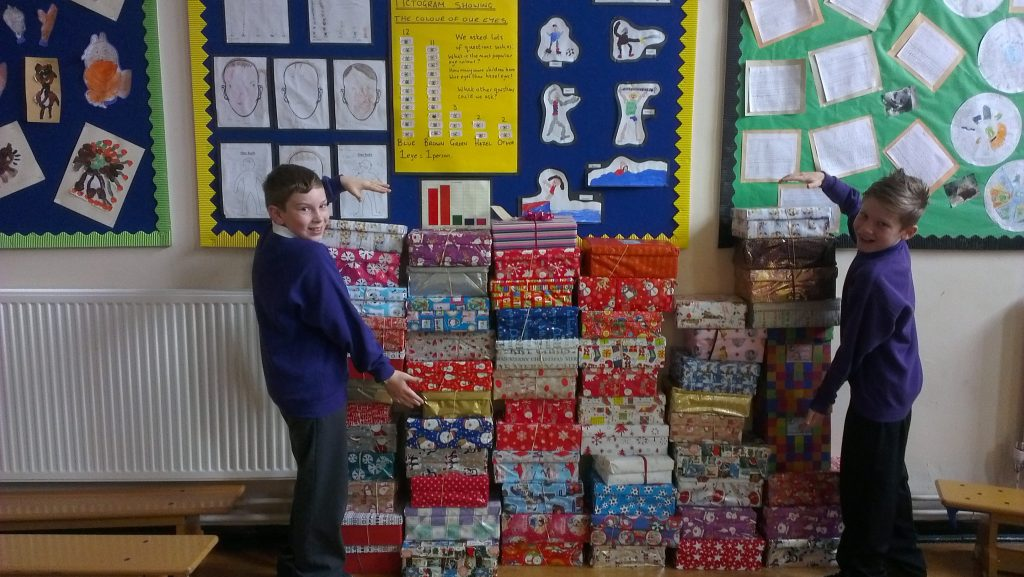 Our shoeboxes ready for sending